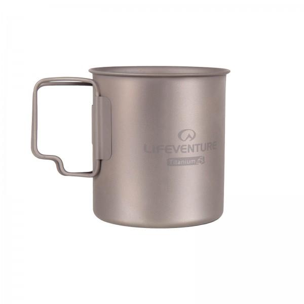 Lifeventure Titanium Mug ultraleichter Trinkbecher mit Klapphenkel